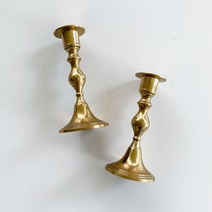Vintage Brass Gold Candlesticks (Set of 2)